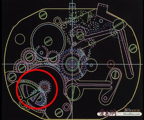 将机械结构简单的说,便是在贯穿发条盒的大卷车处设置一组轮系,其中