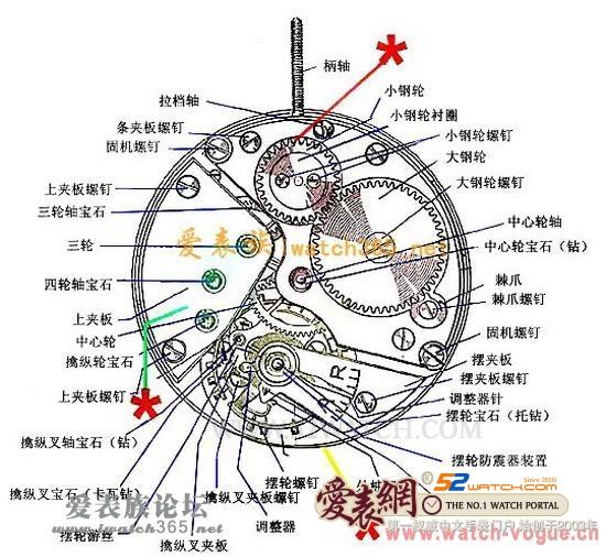 手表内部零部件结构示意图