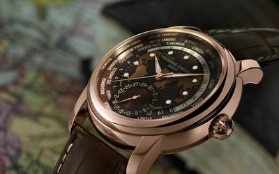 康斯登全新典雅自家機芯世界時區腕表